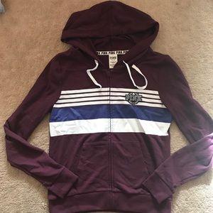 PINK burgundy full zip hoodie